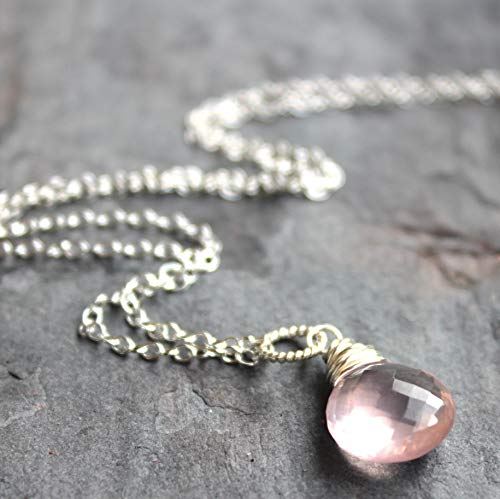 Petite Rose Quartz Necklace Pink Pendant Drop Sterling Silver Gemstone Faceted 18 Inches -