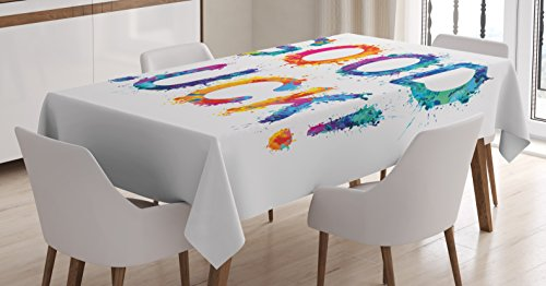 Ambesonne Going Away Party Decorations Tablecloth, Artistic Vibrant Grunge Motivation Inscription Splash Letters, Dining Room Kitchen Rectangular Table Cover, 60W X 84L inches, Multicolor ()