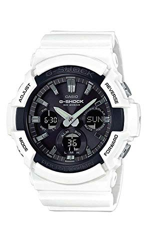Casio #GAS100B-7A Men039;s Analog Digital Alarm Chronograph White G Shock Watch