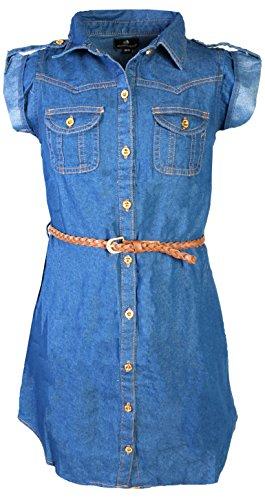 dollhouse Girls Roll Cuff Denim Dress with Braided Belt, Dark, Size (Jeans Doll Clothes)