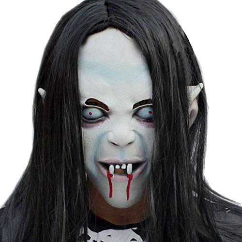 FUNISFUN Halloween Horror Grimace Ghost Mask Scary Zombie Vampire Latex Skin Black Long Hair