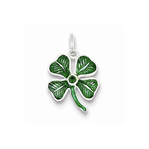 Sterling Silver Leaf Charm Glass (Sterling Silver Enameled 4-leaf Clover With Green Glass Stone Charm)