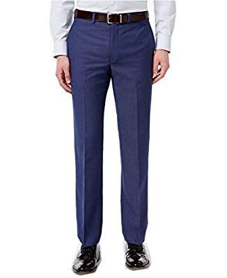 Calvin Klein Men's Extra Slim-Fit Blue Check Dress Pants