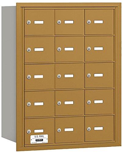 Salsbury Industries 3615GRU 4B Plus Horizontal Mailbox, 15 A Doors, Rear Loading, USPS Access, Gold