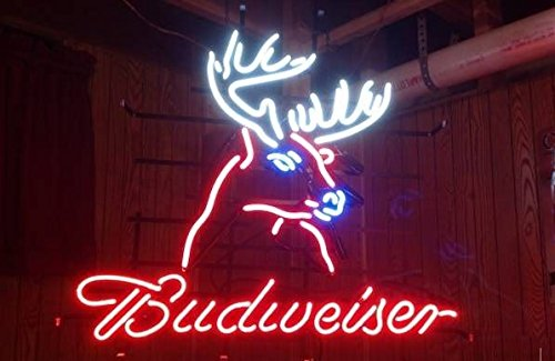 Desung New 20''x16'' Budweisers Deer Head Mule Elk Neon Sign (Multiple Sizes Available) Man Cave Signs Sports Bar Pub Beer Neon Lights Lamp Glass Neon Light CX213