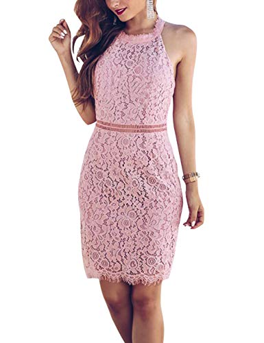 69849cf25ec MEROKEETY Women s Halter Neck Backless Floral Lace Sexy Cocktail Party  Bodycon Dress