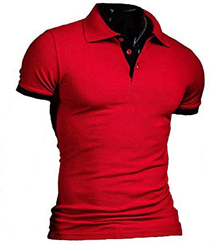 日記改善視線(SGL Collection) ポロシャツ メンズ 半袖 シンプル デザイン スリムフィット バイカラー スキッパー 6色選択 サイズ S ~ XL 【 日本向け オリジナル サイズ仕様 】