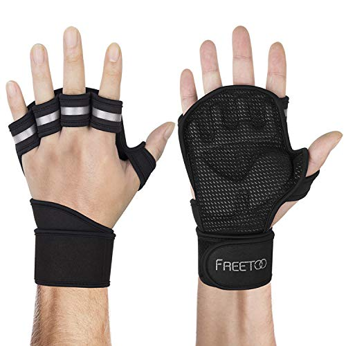 FREETOO Workout Gloves with Wrist Support Open Back Gym Gloves, Weight Lifting Gloves, Exercise Gloves for Powerlifting, Fitness, Cross Training for Men & Women