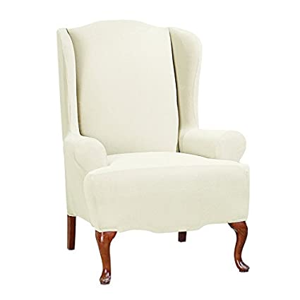 Sure Fit Stretch Morgan   Wing Chair Slipcover   Ivory (SF45359)