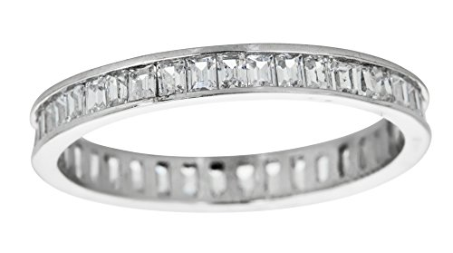 Channel Set Stackable (Sterling Silver 1.5x2mm Channel Set Baguette Cubic Zirconia Eternity Band Stackable Ring)
