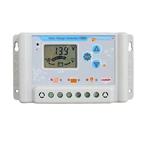 ZHC Solar Charge Controller 20A/30A for Lithium Battery with USB, LCD (20A, 12V / 24V) by ZHC