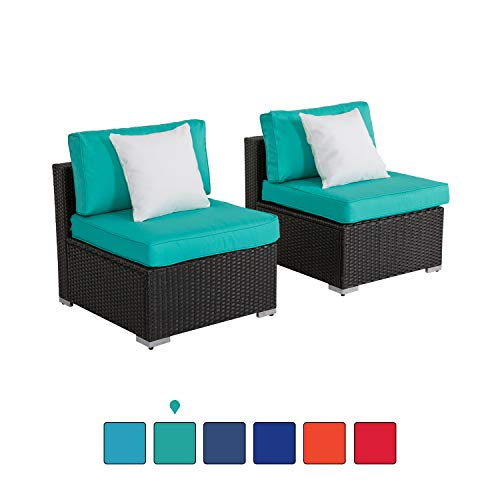 Peach Tree Outdoor Loveseat 2 PCs Patio Furniture Set, Wicker Armless Sofa Chairs Black Rattan Thick Cushions Infinitely Combination