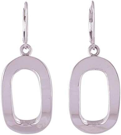 NOVICA .925 Sterling Silver Dangle Earrings 'Oval Shine'