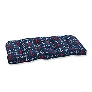 Pillow Perfect Outdoor/Indoor Anchor Allover Arbor Wicker Loveseat Cushion, Navy