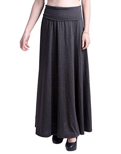 HDE Women's High Waist Fold Over Elastic Long Summer Maxi Skirt (Dark Gray, Medium) (Petite Skirt Womens)