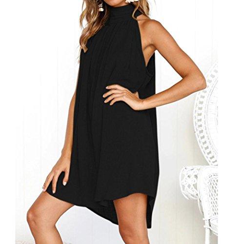 Ladies Mujer,vestido De Para Beach Toamen Sin Vacaciones Negro Vestido Fiesta Irregular Mangas Summer RnFCqA