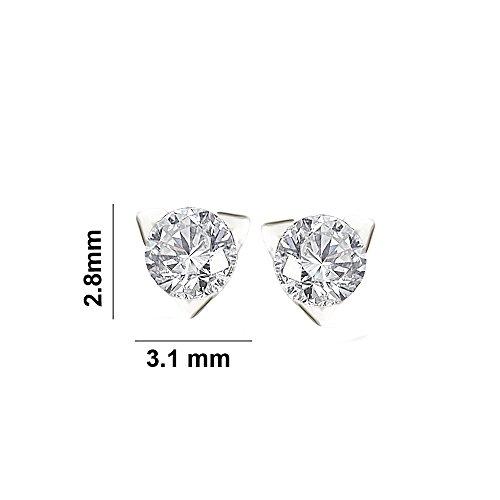 Libertini Boucle d'oreille argent 925 serti de Diamant en forme de Triangulaire