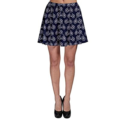 CowCow Womens Blue Pattern Outline Vintage Bicycles Skater Skirt