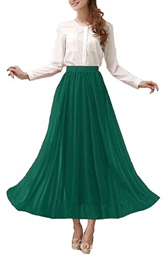 Afibi Womens Chiffon Retro Long Maxi Skirt Vintage Dress (Small, Jasper) - Mid Length Chiffon