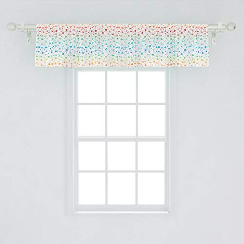 Lunarable Atom Window Valance, Gradient Abstract Themed Molecule Structures Pattern, Curtain Valance for Kitchen Bedroom Decor with Rod Pocket, 54