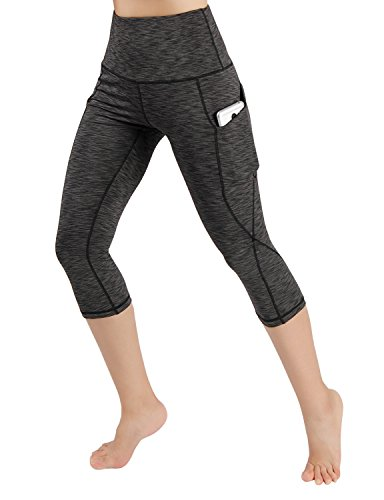 ODODOS High Waist Out Pocket Yoga Capris Pants Tummy Control Workout Running 4 Way Stretch Yoga Capris Leggings,SpaceDyeMattBlack,Medium - Natural Waist Pocket
