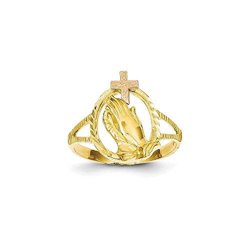 14K Two-tone Diamond Cut Praying Hands Cross Ring Size 6