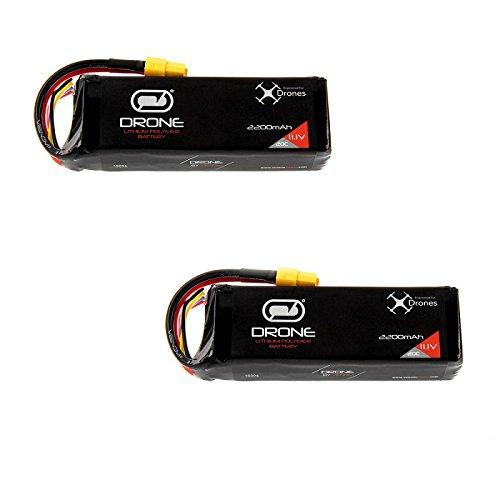 DJI Phantom Battery by Venom 20C 3S 2200mAh 11.1 LiPo x2 Packs with Venom XT60 Plug -