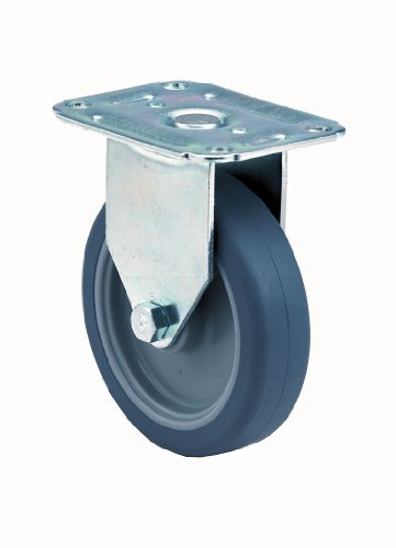 E.R. Wagner Plate Caster, Rigid, TPR Rubber on Polyolefin Wheel, Roller Bearing, 475 lbs Capacity, 8