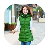 Puissant fishing-vests Vest Women Waistcoat Female Sleeveless Jacket Hood Warm Long Vest Outwear,Green,XXL