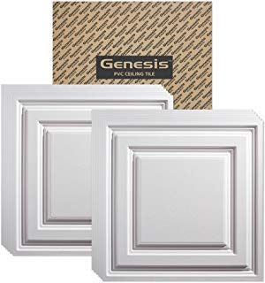 GENESIS - Icon Relief White Ceiling Tile (Carton of 12) - Drop/Grid Ceiling - Fast and Easy Installation (2' x 2' Tile) (Faux Drop Ceiling Tiles)