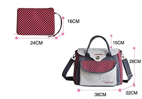 Bolso de la momia de la manera británica multi-functional, para ser paquete producido, bolso impermeable de la momia de la capacidad grande ( Color : Rojo ) Rojo