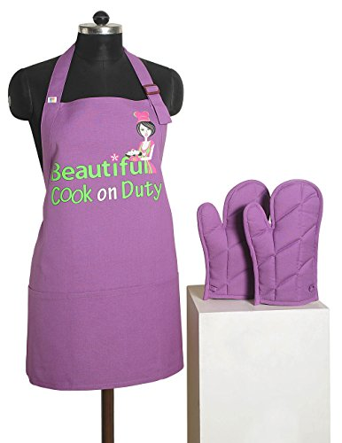 Graphic Screen Print Apron & Oven Mitt Set - 100% Cotton - Kitchen Gifts for Women