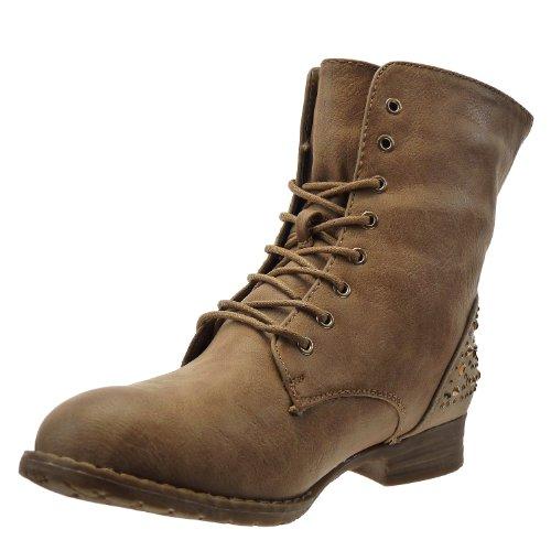 Kickly - damen Mode Schuhe Stiefeletten Stiefel Reitstiefel - Kavalier - biker - besetzt - Strass Schuhabsatz Blockabsatz - Khaki T 40 - UK 6.5