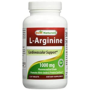 #1 L Arginine 1000mg 120 Tablets by Best Naturals Essential Amino Acid Cardiovascular Health Support Formula L Arginine Enhances Circulation Lifetime 100% Satisfaction Money Back Guarantee Manufactured in a USA Based GMP Certified Facility and Third Party Tested for Purity. Guaranteed!!