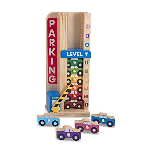 Melissa & Doug Personalized Stack & Count Wooden Parking Garage with 10 Cars (Dropship Personalized Gifts)