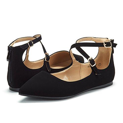 Dream Pairs Correas De Tobillo Con Tira De Suela Para Mujer Zapatos Planos Negro Nubuck
