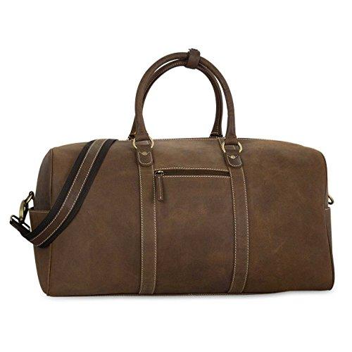 STILORD Weekender Borsa a tracolla da viaggio Sacchetti di spalla classica Sport Vintage Retro vera pelle marron