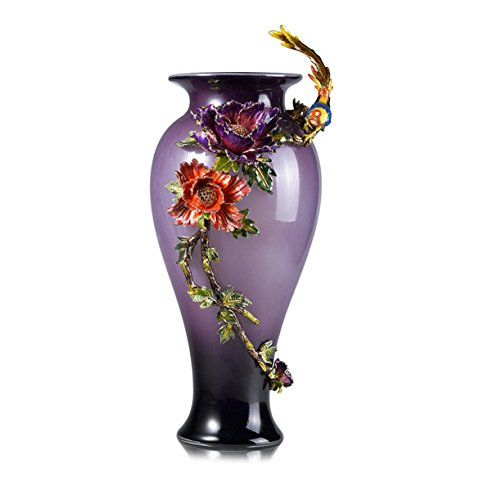 Enameled Glass Vase (RORO Wedding Gift, Enameled and Jeweled Bohemia Crystal Parrot Purple Vase, European Style, Swarovski Decoration, Luxury Home Accessories)