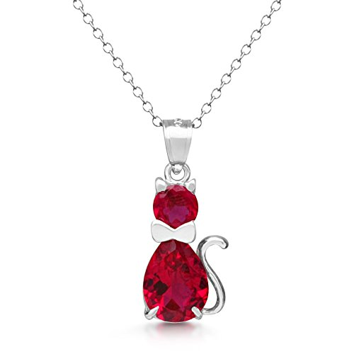 - DTLA Sterling Silver Fancy Simulated Birthstone CZ Cat Charm Pendant Necklace with 18