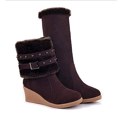 Black US8   EU39   UK6   CN39 Black US8   EU39   UK6   CN39 Women's Fashion Boots Suede Fall & Winter Boots Wedge Heel Round Toe Mid-Calf Boots Brown Red   Almond