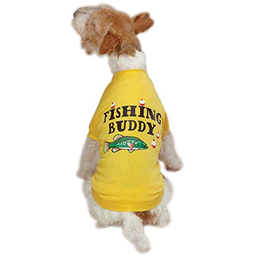 Not Applicable Zack & Zoey Poly Cotton Fishing Buddy Dog Tee, Large, Yellow