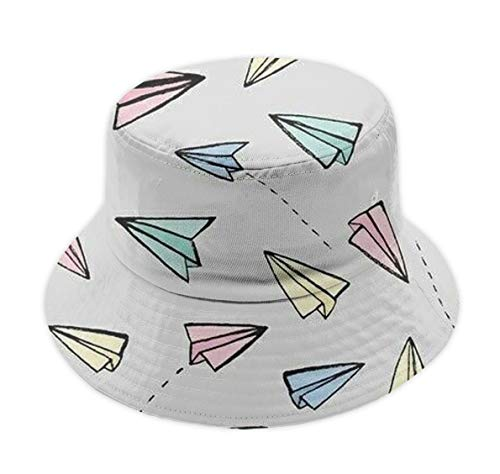 Fashion Bucket Hat Fisherman Cap Summer Sun Hat (School Kids Flying Paper Airplanes)