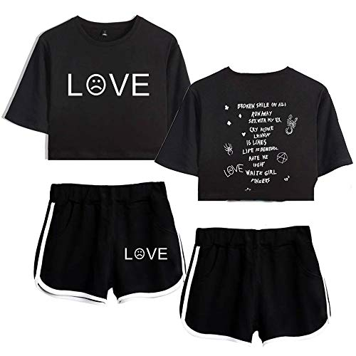 (SHEJIAN Summer Lil Peep Loose Size Crop Short Sleeved Shorts Suits for Ladies Women Black XL)