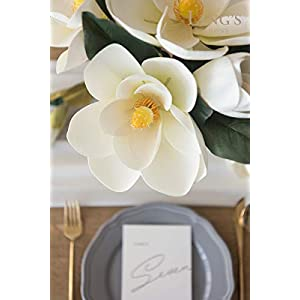Ling's moment Pack of 6 Large Real Touch Artificial Magnolia Flowers Stems for DIY White Wedding Bouquets Centerpieces Arrangements Home Table Decor 3