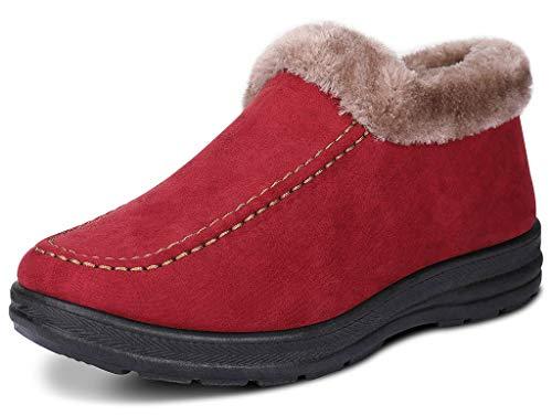 Women's Winter Short Snow Boots Warm Slip-on Walking Shoes Fur Lined Footwear (Red, 9 B(M) US) ()