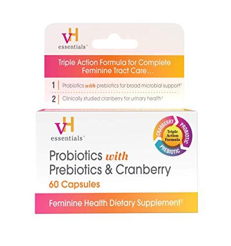 vH essentials Probiotics with Prebiotics and Cranberry Feminine Health Supplement – 60 Capsules