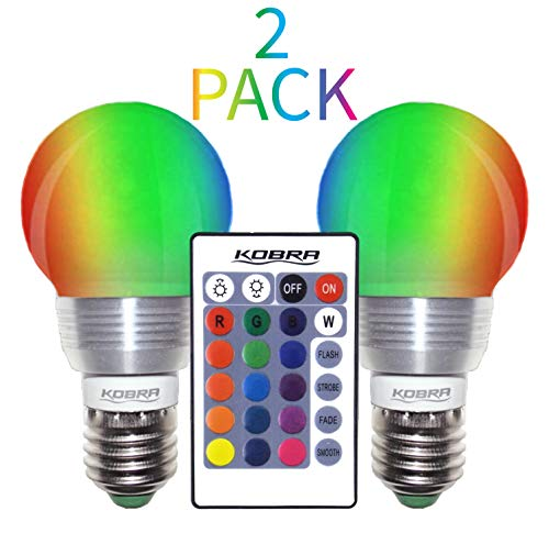 Kobra LED Color Changing Light Bulb with Remote Control - 16 Different Color Choices Smooth, Fade, Flash or Strobe Mode - Smart Remote Lightbulb - RGB & Multi Colored - Makes a Perfect Gift (One Tree Hill Best Show Ever)