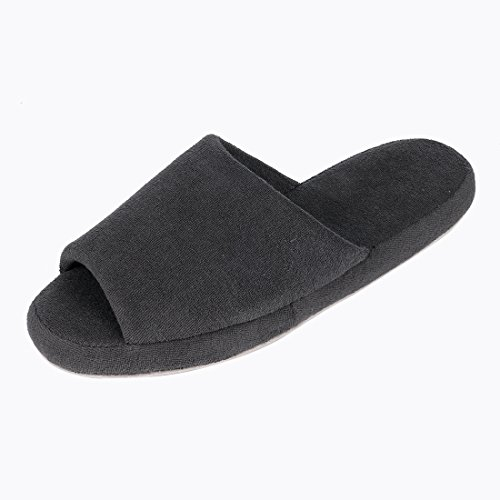 Shevalues Womens Open Toe House Slippers Cotton Striped Spa Slippers Casual Memory Foam Arch Support Home Slippers Black DgZNE