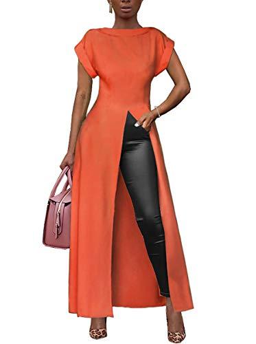 Ophestin Women's Casual Basic Blouse Short Sleeve Drawstring Summer High Low Shirt Blouse Top Orange Red#2 XXL