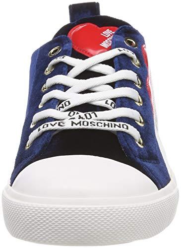 Para Moschino Azul Mujer Zapatillas Scarpad 75a blu gomma30 Velluto Love v4wXZqq